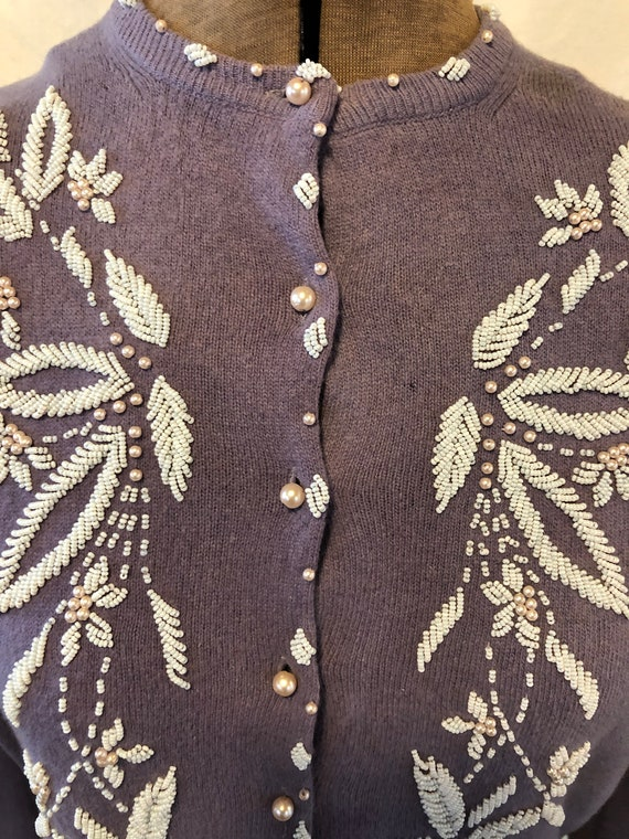 Vintage Lilac Hand Beaded Wool Sweater Cardigan M… - image 4