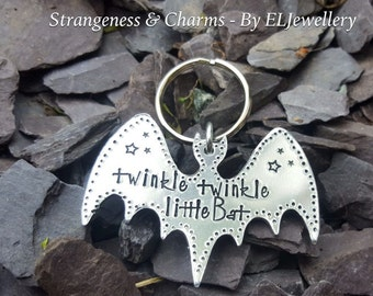 Hand Stamped 'Twinkle Twinkle Little Bat' Aluminium Bat Keyring, Alice in Wonderland, Mad Hatter, Lewis Carroll, Stamped Metal, Whimsical.