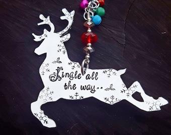 Hand Stamped 'Jingle all the way' Reindeer Christmas Decoration, Reindeer Ornament, Jingle Bells, Reindeer, Christmas Ornament, Home Decor.