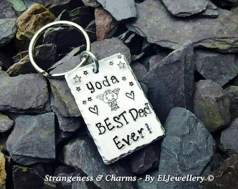 Hand Stamped 'Yoda Best Dad Ever!' Aluminium Keyring, Stars,Yoda, Fathers Day Gift,Fathers Gift,Dad,Geekery, Metal Jewellery, Keychain.