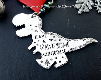 """/""""I think you/'re Rawrsome!/"""" Quirky T-rex Dinosaur Silver Necklace Gift New"""