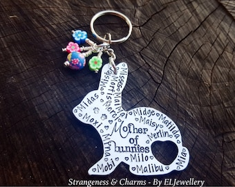 Hand Stamped Personalised'Mother of Bunnies' Aluminium Rabbit Keychain, Bunny Keyring, Pet Names, Rabbit Names, Animal Lovers, Stamped Metal
