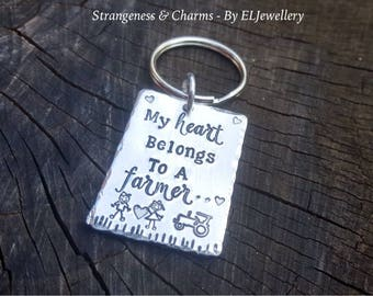 Hand Stamped 'My heart belongs to a Farmer' Aluminium Keyring,Farming,Tractor, Metal Keyring, Farmer,Stamped Metal Keychain, Stamped Keyring