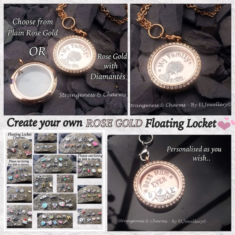 Stainless Steel Personalised Rose Gold /'Create Your Own Design/' Floating Locket Mothers Day Gift Personalised Jewellery,Couples Gift.