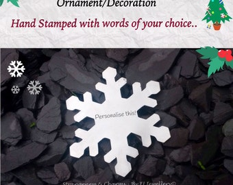 Hand Stamped Personalised Christmas Snowflake Decoration, Christmas Ornament, Stamped Metal Decoration, Home Decor, Personalized Snowflake