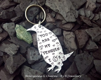 Hand Stamped Personalised 'You are my Penguin' Penguin Keyring,Valentine's Gift, Couples Gift,Keychain,Anniversary, Penguins,My Penguin.