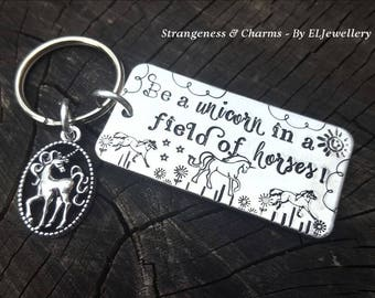 Hand Stamped 'Be a Unicorn' Aluminium Keyring, Unicorn Keyring, Unicorns, Be Different, Stamped Keyring, Stamped Keychain, Metal Jewellery.