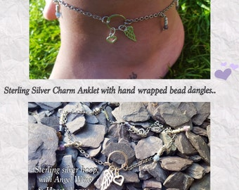 Sterling Silver Charm Anklet, Anklets, Angel Wing, Love Heart, Jewelry, Summer, Gypsy, Anklets, Bead Dangles, Gypsy,Anklet,Silver Jewellery.