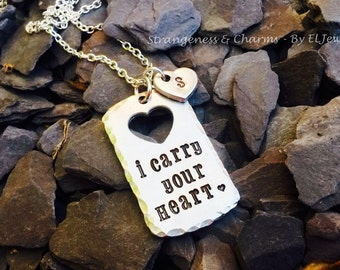 Hand Stamped Personalised 'I Carry Your Heart' Aluminium Dog Tag Necklace, Initial, Heart Charm, Stamped Metal Jewellery, Quote Jewelry.