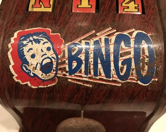 Vintage Metal Bingo Caller Toy Made In Brooklyn, New York By The Kalon Radio Corporation
