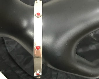 Sterling Silver & Tube Set Red Jasper Bangle Bracelet