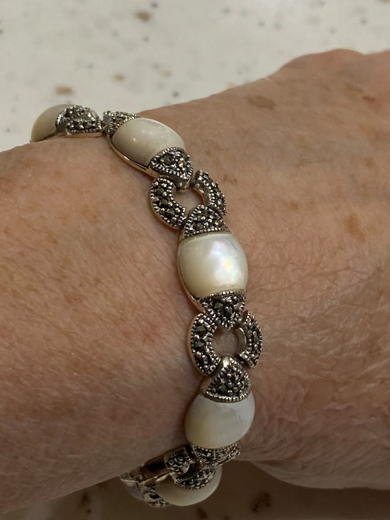Sterling Silver Mother of Pearl & Marcasite Bracel