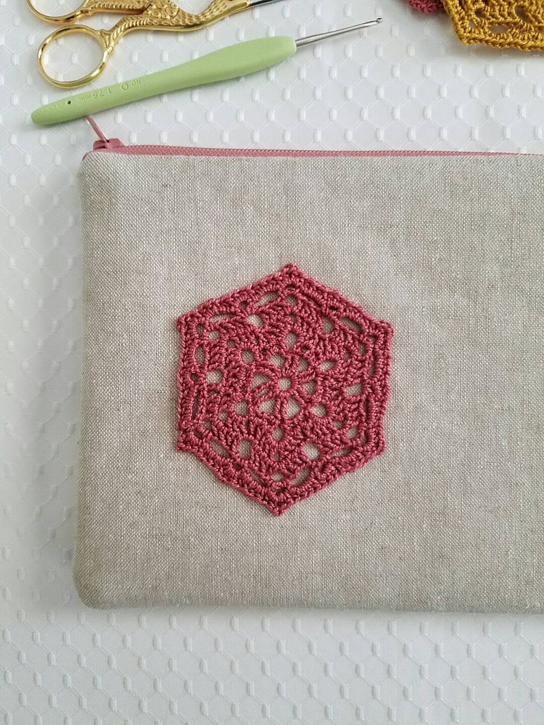 doily clutch purse Crochet Lace and Linen Zip Pouch hand crocheted doily Your choice color travel pouch pen or pencil pouch organizer