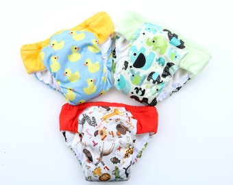 Potty training pants, set of 3 Overnight heavy wetter, neutral prints, eco friendly waterproof cloth pullups, outdoor training underwear