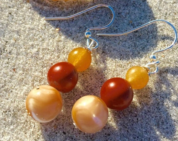 Mother of pearl and agate beachy earrings