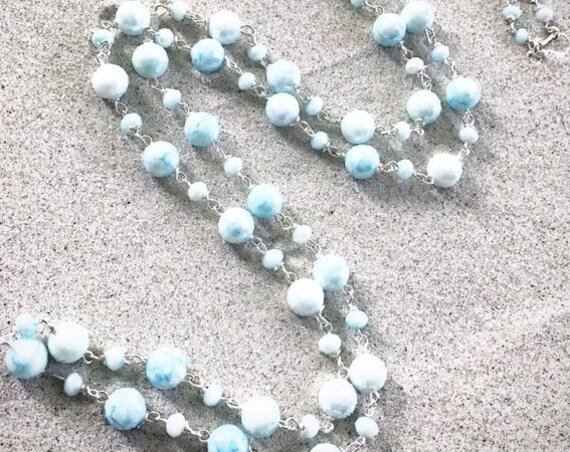 """32"""" Powder Blu Crystal Necklace"""