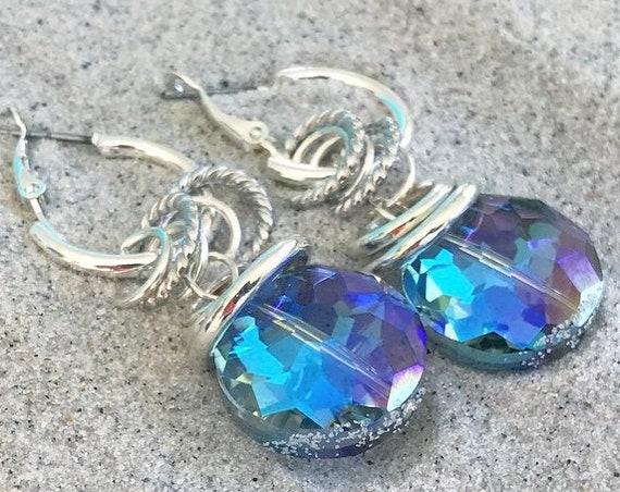 Crystal/silver hoop earrings
