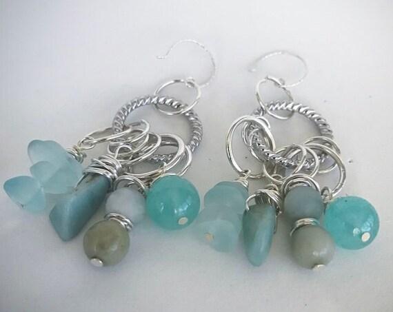 Ocean blues hoop earrings