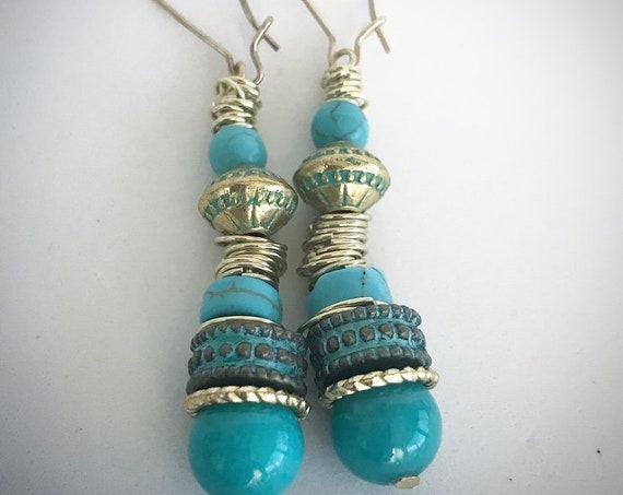 "Turquoise/gold 2"" drop Earrings"