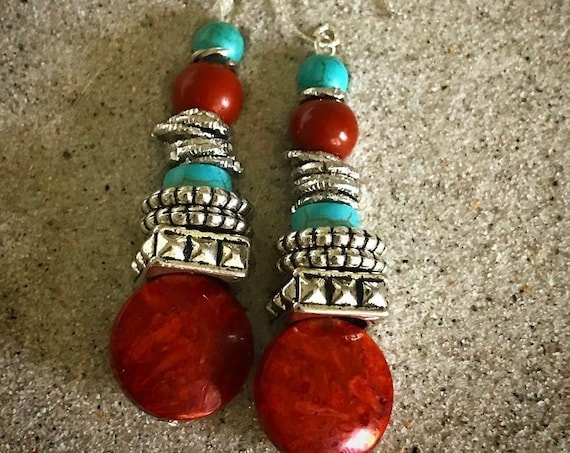 Turquoise and cranberry earrings