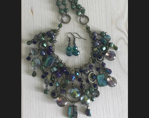 Crystal, Abalone and Czech Glass Necklace