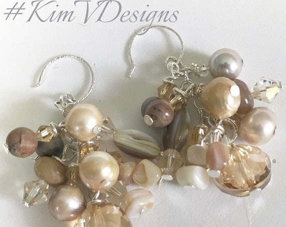 Fresh water pearl charm style earrings