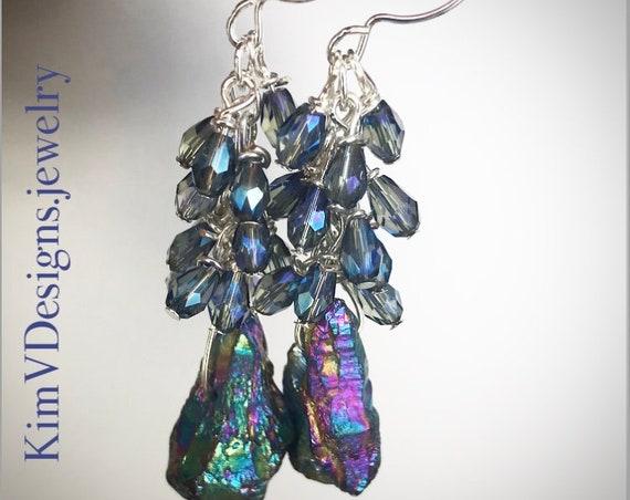 Hematite and crystal earrings