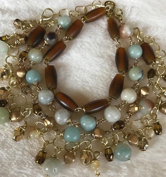 Amazonite, shell stacked bracelet set