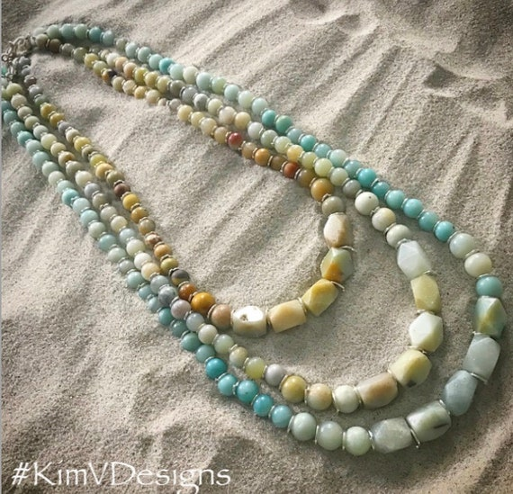 Amazonite Necklace Stack With Silver Closures