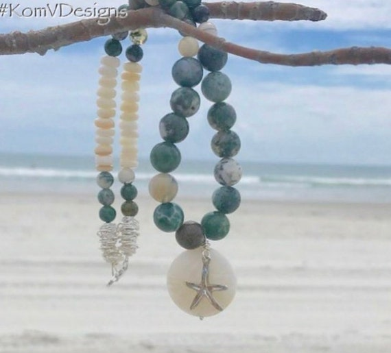 Jasper and shell starfish necklace