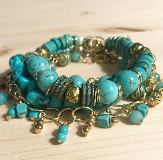 Turquoise and Gold Bracelet Stack
