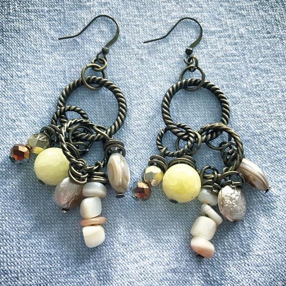 Brass, quartzite earrings