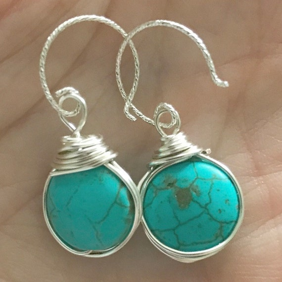 Turquoise silver wire wrapped earrings