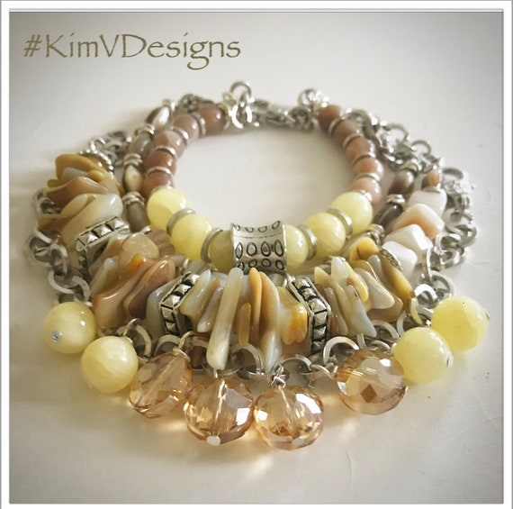 Mother of Pearl and Shell Beaded Bracelet Stack
