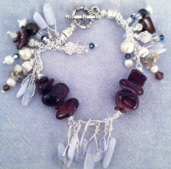 Blue slack Agate and Sterling Silver Bracelet
