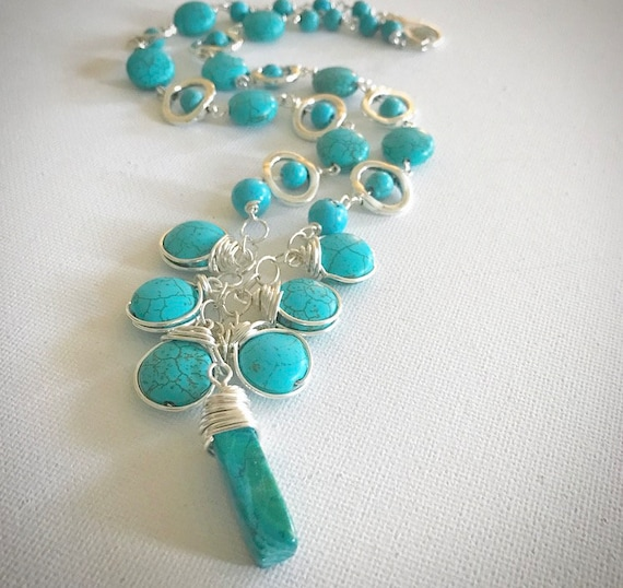 Turquoise Sterling Silver wrapped necklace