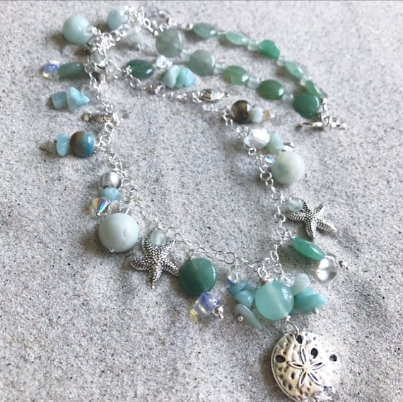 Sterling Silver Amazonite charm necklace