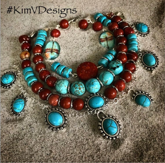 Turquoise/cranberry bracelet stack