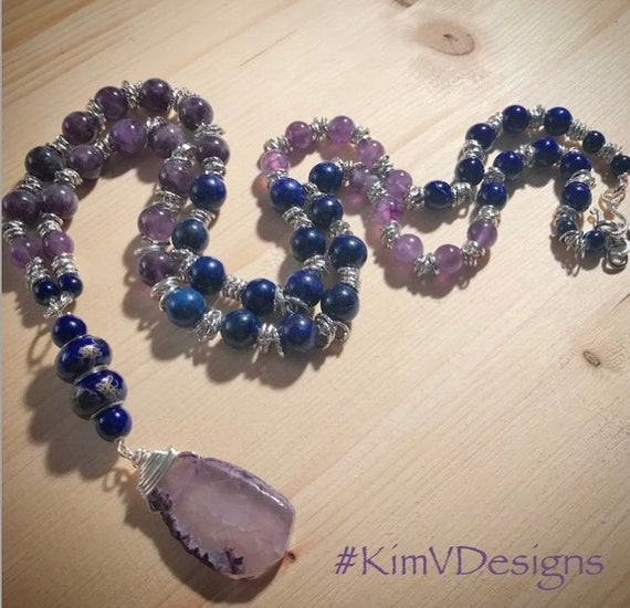 Lapis and amethyst necklace