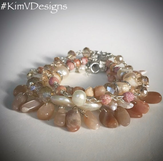 Sunstone and Pearl Bracelet Stack