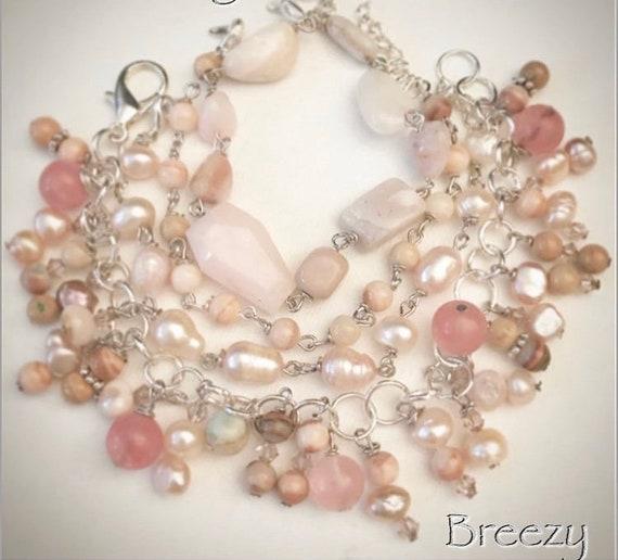 Pearl/opal stacked bracelet set