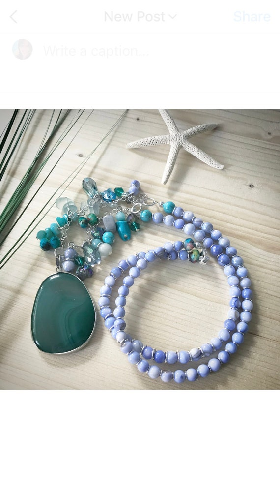 Periwinkle and turquoise charm style necklace
