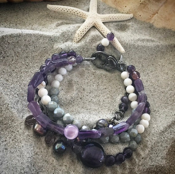 Amethyst Stacked Bracelet Set