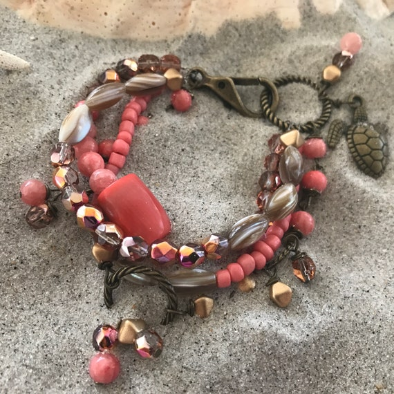 Coral stacked bracelet set