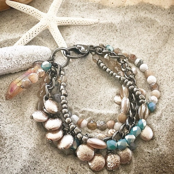 turquoise, silver and pewter bracelet stack