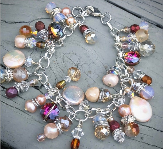 Crystal and Pearl Charm Bracelet