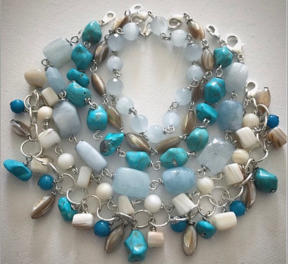 Turquoise, aquamarine, shell beaded bracelets