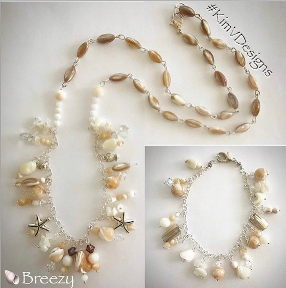 "30"" shell beaded necklace"
