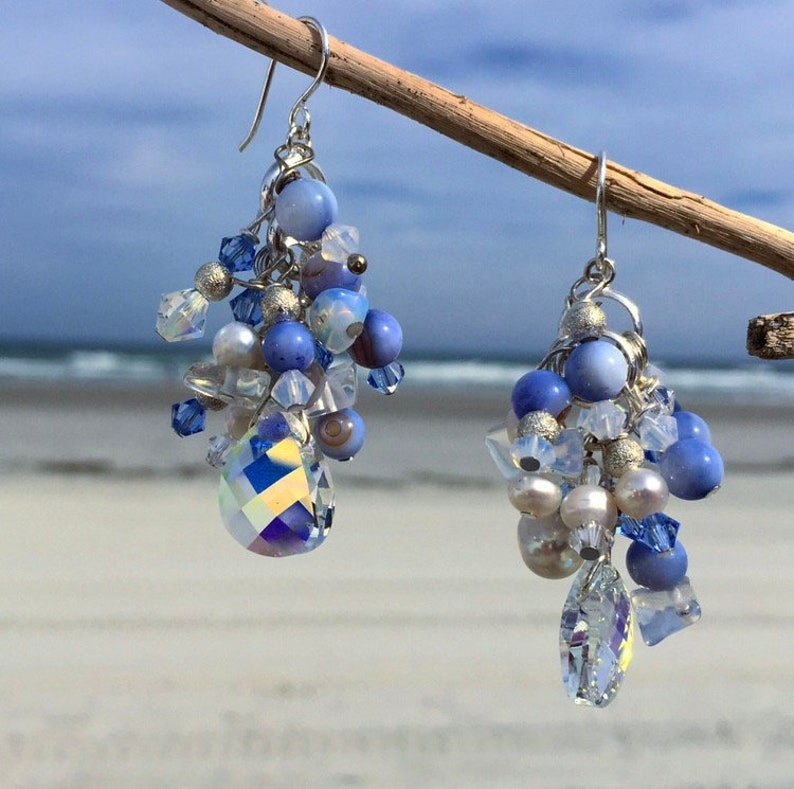 Periwinkle shell and pearl earrings
