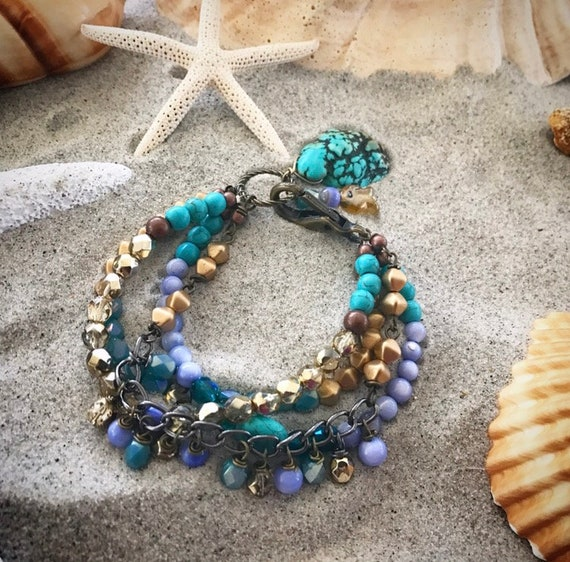 Turquoise and periwinkle stacked bracelet set
